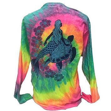 Southern Attitude Tortuga Moon Mermaid Turtle Tie Dye Long Sleeve T-Shirt