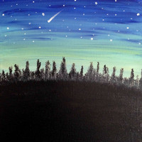 Shooting Star Moon night Stars and sky Night scene Inspirational canvas quotes Acrylic painting Canvas art Wall decor Wall art