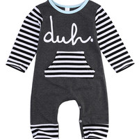 Newborn Baby Girls Boys Cotton Romper infant Body Suit letter Long Sleeve Striped Clothes