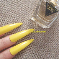 yellow fake nails stiletto long nails false nails drag queen parade costume false tips uñas quirky cosplay sexy men pointy lasoffittadiste