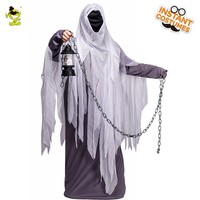 Halloween Men's Ghost Costume Role Play With Hooded Ghost Cosplay Costume Party for Adult Man Ghost Robe