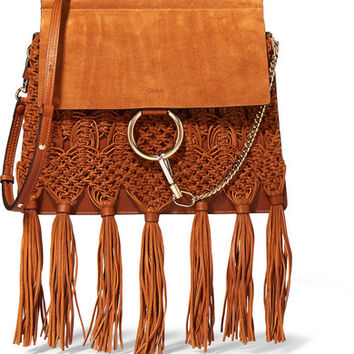 Chloé - Faye medium braided leather and suede shoulder bag