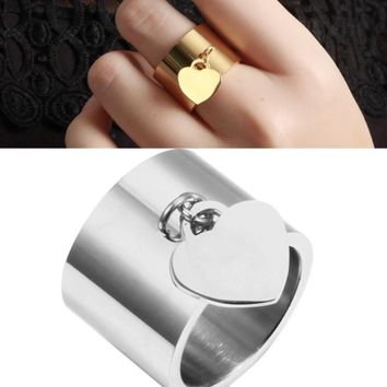 Luxury Love Tag Charm Dangling Ring