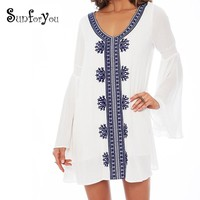Embroidery Cotton Beach Tunic Cover-up Swimsuit cover up Beachwear Beach cover ups Beach Pareo Women Sexy Beach Dress