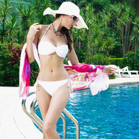 White Ruched Halterneck Bikini Set with Detachable Strap