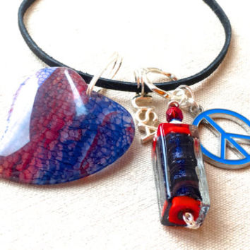 Interchangeable Red White and Blue Necklace, 4th of July jewelry fourth of July necklace peace sign necklace agate carved stone pendant
