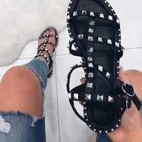 hallie black studded gladiator sandals