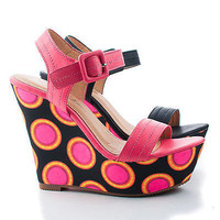 Viccy2 Retro Two Tone Strappy Slingback Platform Wedge Sandals