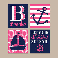 NAUTICAL Nursery Wall Art, CANVAS or Prints, Baby Girl Nursery Artwork, Navy Pink Bedroom Decor, Sailboat Anchor,Coastal Theme,Set of 4 Sail