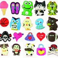 20 Fun Pack Cutesy Animal Novelty Shoe Snap On Decorations, Charms, Buttons, Widgets for Clogs, Crocs, Bracelets, & More