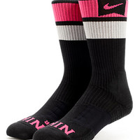 Nike SB Elite Dri-Fit Black & Pink Foil Striped Crew Socks