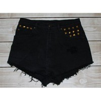 Black Gold Studded High-Waisted Shorts, MORAGA COLLECTION