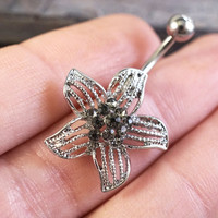 Silver Flower Belly Button Jewelry Ring