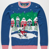 Ugly Christmas Sweater Penguin Mens Light Up Sweater Blue  In Sizes
