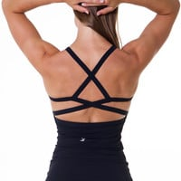 Women's Yoga Inspired Mesh Lined Tank Top With Built-in Bra