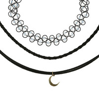 Cord Moon Tattoo Choker Set