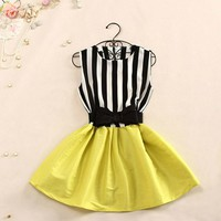 Cute and fashion Stripe of tall waist DRESS for girls
