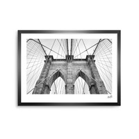 Brooklyn Bridge - Black White Urban Photography Framed Art Print