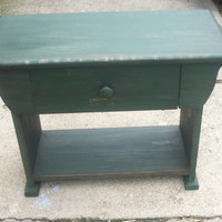Primitive Rustic 2 Foot Bench With Drawer Storage End Table