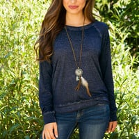 Emmie Long Sleeve Top - Navy