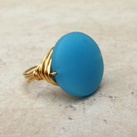 Blue Opal Sea Glass Ring:  24K Gold Wire Wrapped Beach Jewelry, Size 7