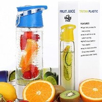 FGN Sport Water Bottle with Fruit Infuser and Carrying Handle,with Locking Flip Top Lid, BPA FREE -23 Oz-made with Tritan Copolyester--perfect for Travel,yoga,office and Around Town - Black