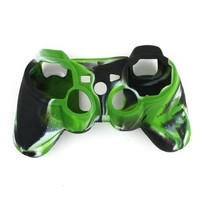 Leegoal High Quality Premium Super Grip Glow Black green White Silicon Protective Skin Case Cover for Sony Playstation PS3 Remote Controller