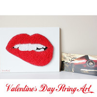 When I think of you Wall Art - Exquisite Gift For This Valentine's Day-Bitten Lips String Art - Lip Bite-Gift For Him-Gift for Her