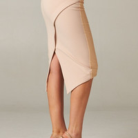 Asymmetrical Nude Skirt with Faux Leather Front