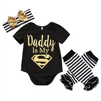 Girl Clothes Short sleeved Letter Romper Baby Clothing