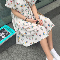 Cartoon Bird Printed Short Sleeve Midi Dress