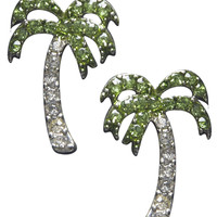Rhinestone Palm Tree Button Earrings | Wet Seal