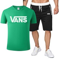 Vans New fashion letter print top and shorts two piece suit men Green
