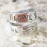 Hand Stamped Personalized Adjustable Wrap Ring - I Love you to the Moon and Back - Baby Handprint