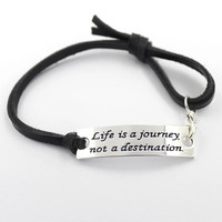 life is a journey Charm Leather Sterling Silver Bracelet Handstamped Jewelry Hand Stamped Affirmation Graduation Gift Semi Colon Story