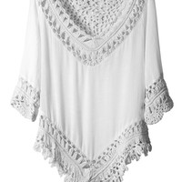 LE3NO Womens Lightweight Loose Fit 3/4 Sleeve Crochet Tunic Top (CLEARANCE)
