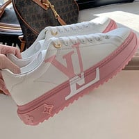 LV Louis Vuitton new high version leather sneakers women casual white shoes Pink