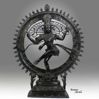 """Shiva Nataraja 24.75"""" Lord Of Dance  Destroyer Of Ignorance In The World; Bronze Shiva In A Ring Of Fire Hindu God Diety Sculpture"""
