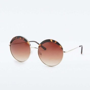 Round Metal and Tortoiseshell Sunglasses - Urban Outfitters
