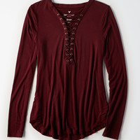 AE Soft & Sexy Long-Sleeve Lace-Up T-Shirt, Purple