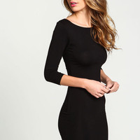 BLACK BOATNECK KNIT TEE DRESS