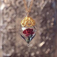 Classic Red Rose Flower Terrarium Glass Vial Necklace - 14kt. Gold Fill (Beauty and the Beast Enchanted Rose) by Woodland Belle