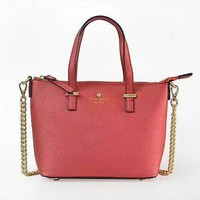 KATE SPADE Women Shopping Leather Metal Chain Crossbody Satchel Shoulder Bag-1