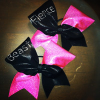 "Black and Hot pink Mystique ""fierce"" or ""beast"" on 3"" Black Grosgrain - Cheer Bow"
