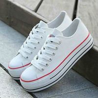 Fashion Women's school Low-top Canvas high heel Platform Sneakers Lace up shoes