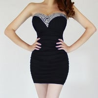Black Strapless Ruched Mini Dress