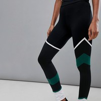 South Beach Panelled Legging In Black And Green at asos.com