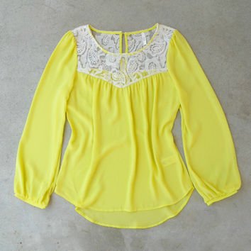 Light & Lace Blouse in Yellow [6122] - $26.00 : Vintage Inspired Clothing & Affordable Dresses, deloom | Modern. Vintage. Crafted.