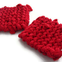Square Red Knitted Coasters Modern Retro Nautical Mug Rugs Mats Upcycled T Shirts (set of 2) - US Shipping Included