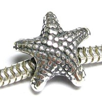 Queenberry Sterling Silver Starfish Star Fish Focal Bead Charm For Pandora European Charm Bracelets